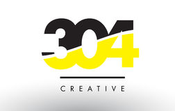 304 Black and Yellow Number Logo Design. 304 Black and Yellow Number Logo Design cut in half Stock Photo