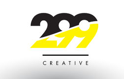 299 Black and Yellow Number Logo Design. 299 Black and Yellow Number Logo Design cut in half Stock Photography