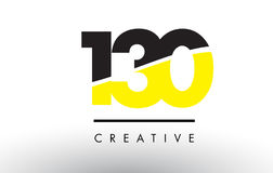 130 Black and Yellow Number Logo Design. Stock Image