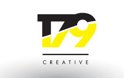 179 Black and Yellow Number Logo Design. 179 Black and Yellow Number Logo Design cut in half Royalty Free Stock Photos