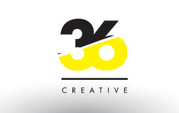 36 Black and Yellow Number Logo Design. 36 Black and Yellow Number Logo Design cut in half Royalty Free Stock Photo