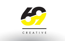 69 Black and Yellow Number Logo Design. 69 Black and Yellow Number Logo Design cut in half Vector Illustration