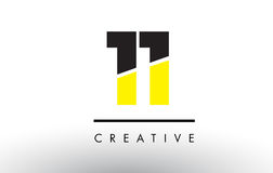 11 Black and Yellow Number Logo Design. 11 Black and Yellow Number Logo Design cut in half Royalty Free Stock Image