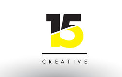 15 Black and Yellow Number Logo Design. 15 Black and Yellow Number Logo Design cut in half Royalty Free Stock Photography