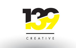 139 Black and Yellow Number Logo Design. Royalty Free Stock Photo