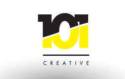 101 Black and Yellow Number Logo Design. 101 Black and Yellow Number Logo Design cut in half Royalty Free Stock Photography