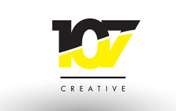 107 Black and Yellow Number Logo Design. 107 Black and Yellow Number Logo Design cut in half royalty free illustration
