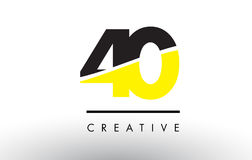 40 Black and Yellow Number Logo Design. 40 Black and Yellow Number Logo Design cut in half Royalty Free Stock Image