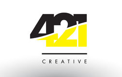 421 Black and Yellow Number Logo Design. Royalty Free Stock Image