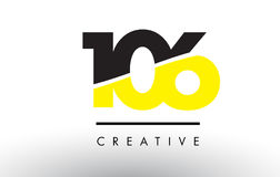 106 Black and Yellow Number Logo Design. 106 Black and Yellow Number Logo Design cut in half vector illustration