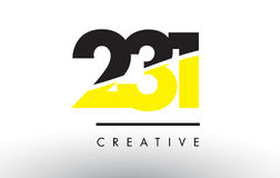 231 Black and Yellow Number Logo Design. Royalty Free Stock Photo