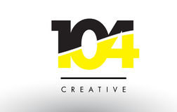 104 Black and Yellow Number Logo Design. 104 Black and Yellow Number Logo Design cut in half vector illustration