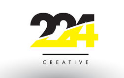224 Black and Yellow Number Logo Design. Stock Images