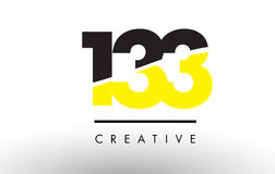 133 Black and Yellow Number Logo Design. 133 Black and Yellow Number Logo Design cut in half Stock Photography