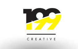 199 Black and Yellow Number Logo Design. 199 Black and Yellow Number Logo Design cut in half vector illustration