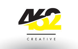 462 Black and Yellow Number Logo Design. 462 Black and Yellow Number Logo Design cut in half Stock Photo