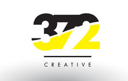 372 Black and Yellow Number Logo Design. Royalty Free Stock Photography