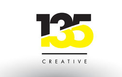 135 Black and Yellow Number Logo Design. 135 Black and Yellow Number Logo Design cut in half stock illustration