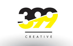 399 Black and Yellow Number Logo Design. Stock Images