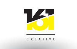 161 Black and Yellow Number Logo Design. 161 Black and Yellow Number Logo Design cut in half Stock Image