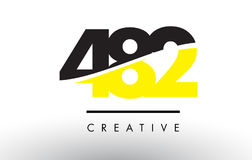 482 Black and Yellow Number Logo Design. 482 Black and Yellow Number Logo Design cut in half vector illustration
