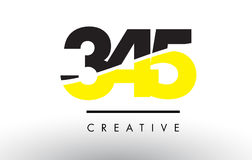 345 Black and Yellow Number Logo Design. Stock Photo