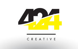 424 Black and Yellow Number Logo Design. Stock Photography