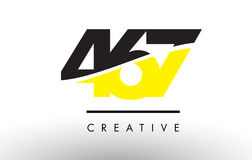 467 Black and Yellow Number Logo Design. Stock Photo