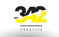 342 Black and Yellow Number Logo Design. Stock Image