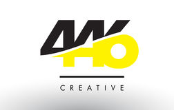 446 Black and Yellow Number Logo Design. Stock Image