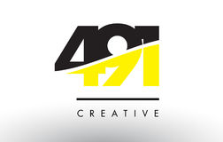 491 Black and Yellow Number Logo Design. 491 Black and Yellow Number Logo Design cut in half royalty free illustration
