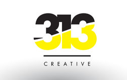 313 Black and Yellow Number Logo Design. Stock Images