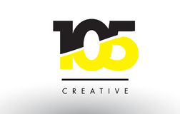 105 Black and Yellow Number Logo Design. 105 Black and Yellow Number Logo Design cut in half Stock Image