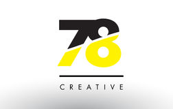 78 Black and Yellow Number Logo Design. Stock Image