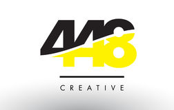 448 Black and Yellow Number Logo Design. Stock Image