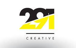 291 Black and Yellow Number Logo Design. Stock Photography