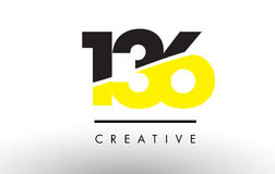 136 Black and Yellow Number Logo Design. 136 Black and Yellow Number Logo Design cut in half royalty free illustration