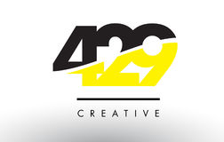 429 Black and Yellow Number Logo Design. Stock Image