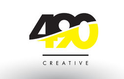 490 Black and Yellow Number Logo Design. Stock Photography