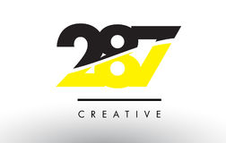 287 Black and Yellow Number Logo Design. 287 Black and Yellow Number Logo Design cut in half vector illustration