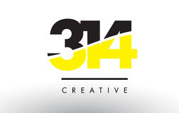 314 Black and Yellow Number Logo Design. Royalty Free Stock Photo