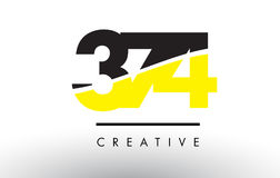 374 Black and Yellow Number Logo Design. 374 Black and Yellow Number Logo Design cut in half stock illustration