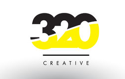 320 Black and Yellow Number Logo Design. 320 Black and Yellow Number Logo Design cut in half stock illustration