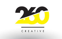 260 Black and Yellow Number Logo Design. 260 Black and Yellow Number Logo Design cut in half vector illustration