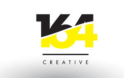 164 Black and Yellow Number Logo Design. 164 Black and Yellow Number Logo Design cut in half vector illustration