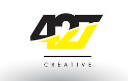 427 Black and Yellow Number Logo Design. 427 Black and Yellow Number Logo Design cut in half royalty free illustration