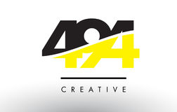 494 Black and Yellow Number Logo Design. 494 Black and Yellow Number Logo Design cut in half Stock Photo