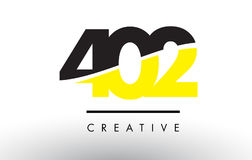 402 Black and Yellow Number Logo Design. 402 Black and Yellow Number Logo Design cut in half vector illustration