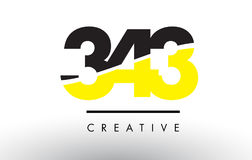 343 Black and Yellow Number Logo Design. Stock Photography