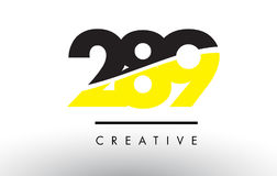 289 Black and Yellow Number Logo Design. 289 Black and Yellow Number Logo Design cut in half stock illustration